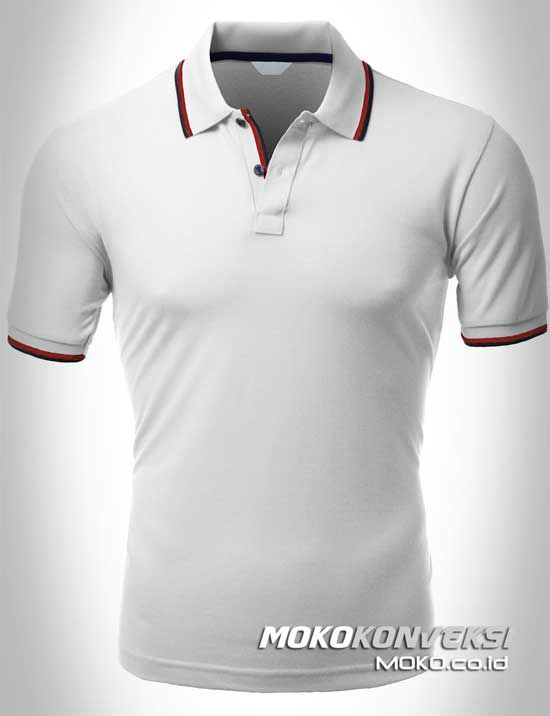Polo Shirt Dual Stripes Accent | MOKO.CO.ID Model Kaos Berkerah Warna Putih.
