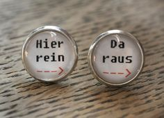 """Lustige Ohrstecker """"Hier rein, Da Raus"""" für selbstbestimmte Frauen/ funny earrings for women who know what they want made by Cathi Thica via DaWanda.com"""