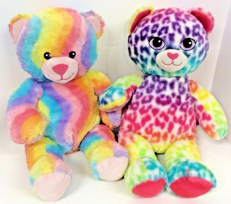 "Build A Bear Plush Rainbow and Cheetah Print Stuffed Animal Soft Cuddle Toy 17"" #BuildABearWorkshop"