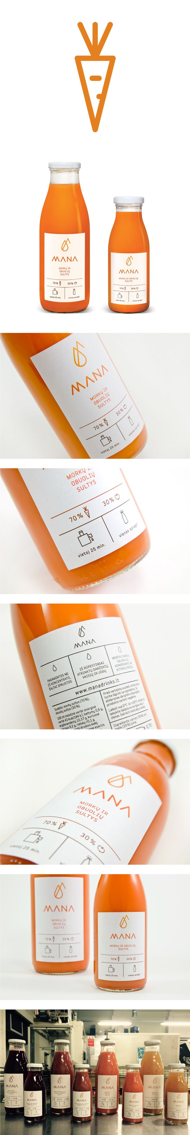 MANA – premium category cold-pressed juice. Designed by PRIM PRIM studio / www.primprim.lt. Designers: Migl? Vasiliauskait?, Kotryna Zilinskien?, Kristina Liaudanskait?. Lithuania. (Bottle Packaging)