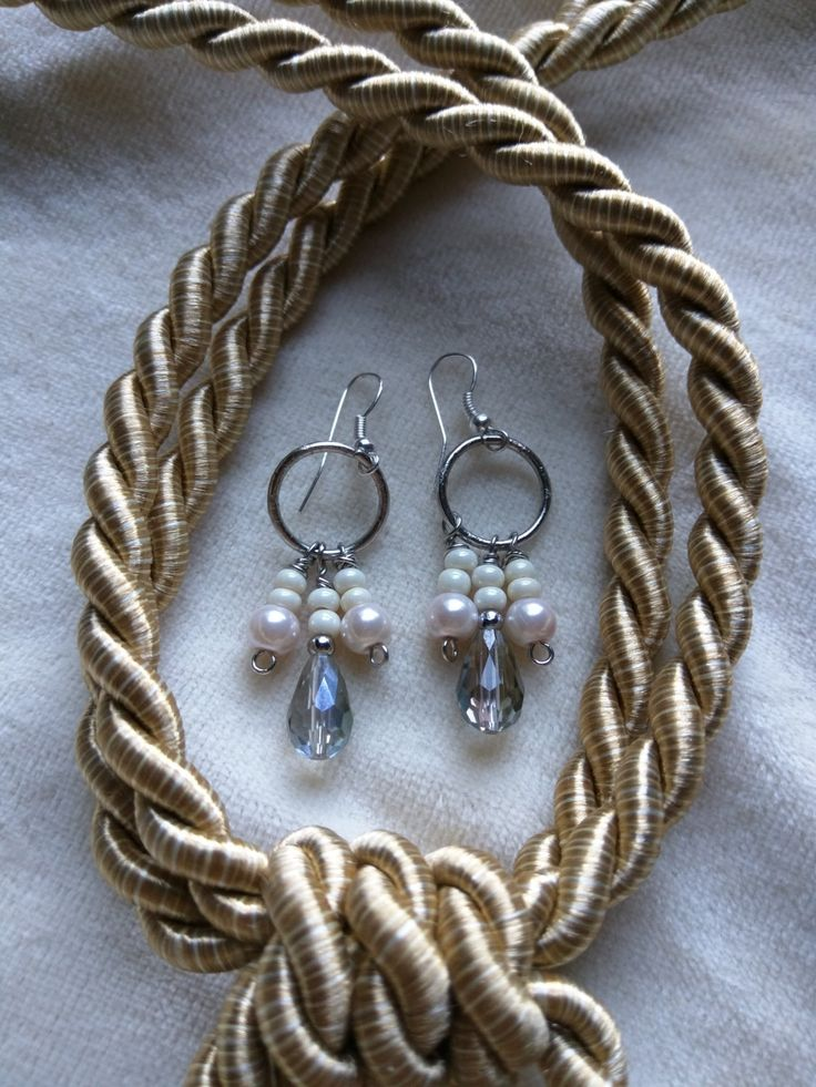 White Pearl and Swarovski Crystal Drop Earrings by SassieDiva on Etsy