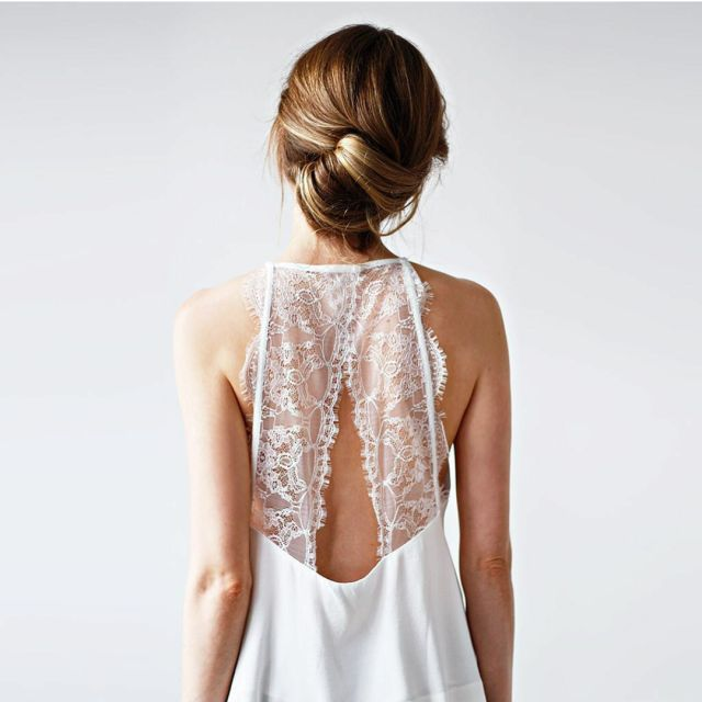 White Lace open back top