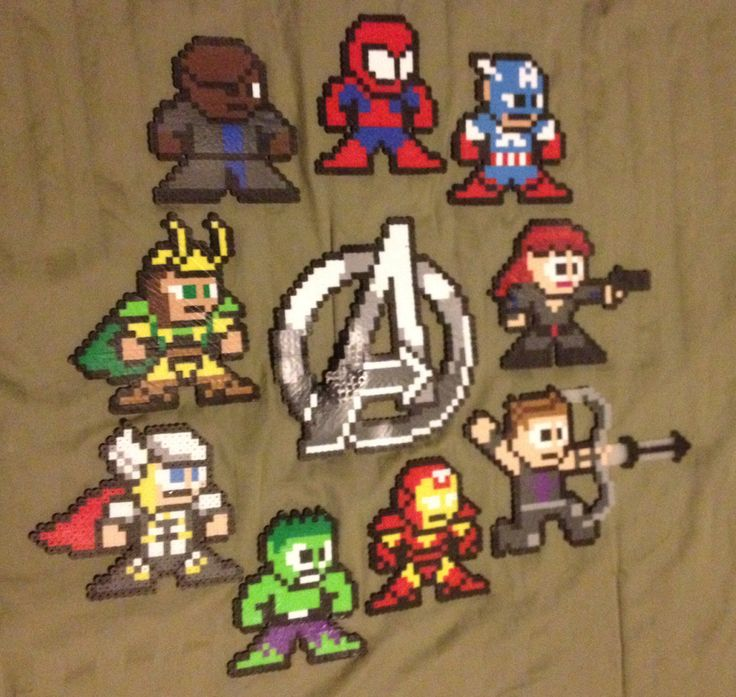My actual completed Perler Bead Avengers set! | Completed ...