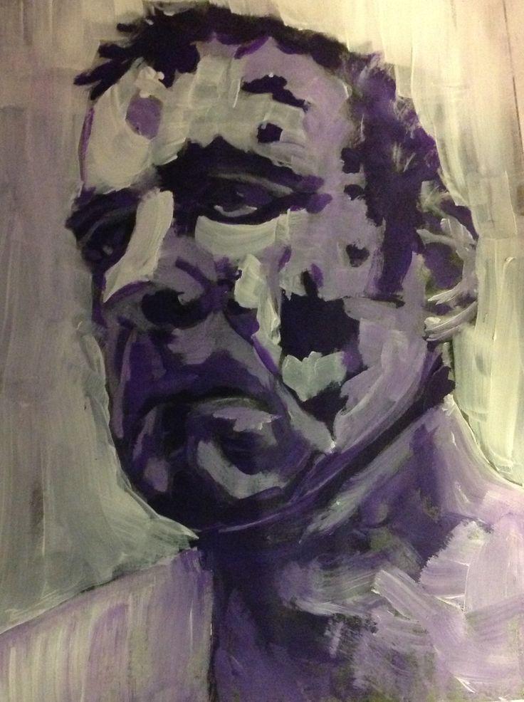 Autoportrait acrylique 8 x 10 pouces.