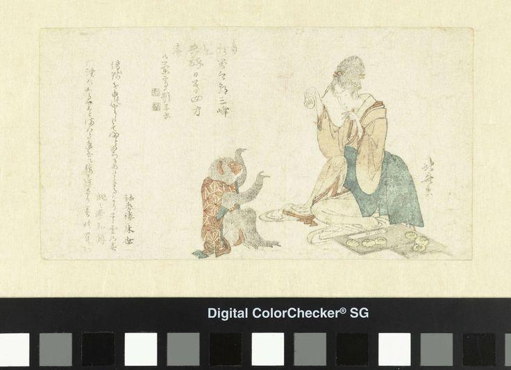 Katsushika Hokusai | Vrouw speelt met aap, Katsushika Hokusai, Shûkôrô Tokoyo, Dondontei Wataru, 1800 | Een Japanse dame, zittend bij een schaal met rijstkoekjes, houdt een koekje op voor een zittende geklede aap. In het eerste gedicht worden de lange maanden aangegeven van het jaar 1800. In totaal twee gedichten.
