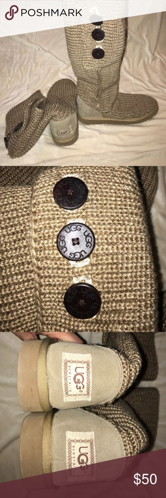 Oatmeal/ Tan Ugg Cardy Boots-Size 8 Oatmeal colored Ugg Cardy Boots! 3 functional buttons on the calves. Very good condition. Footbed inside is soft and plush, only worn a handful of times! Size 8. UGG Shoes Winter & Rain Boots