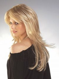 Remy Human Hair Straight Blonde IncLace Frontible Long Wigs