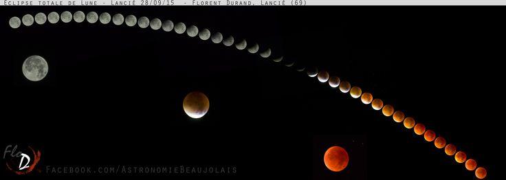 Première phase de l'éclipse totale de Lune, montage. 28/09/2015