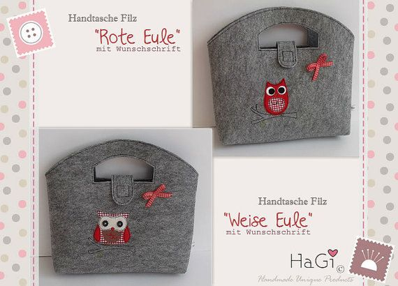 Felt Purse Red Wise Owl Handmade Embroidered by HerzigGenaehtes