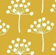Brass Mesh Florine (19,96€/m) - Ontwerpster: Lotta Jansdotter, Collectie: Echo, 100% katoen, Stofbreedte: 110 cm, Achtergrondkleur okergeel, tak is 9 cm hoog  http://www.noeks.nl