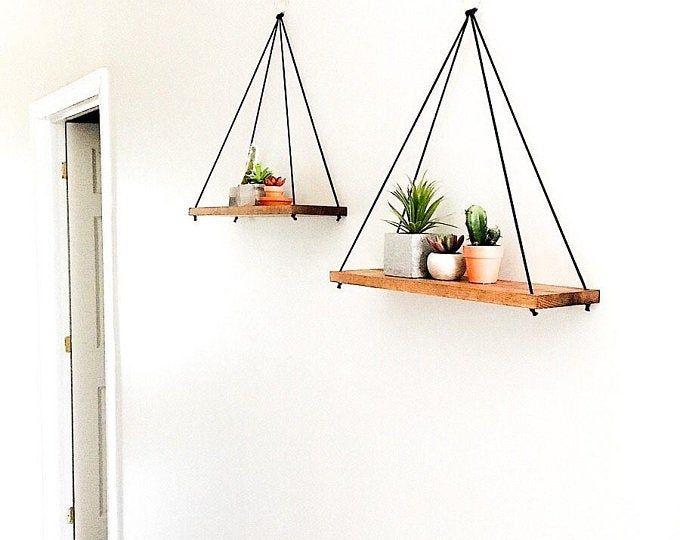 Custom Light Pine Rope Hardware Minimilist Hanging Etsy In 2020 Rope Shelves Hanging Wood Shelves Hanging Rope Shelves
