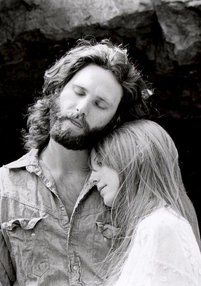 Jim Morrison and Pamela Courson photographed by Edmund Teske at the Bronson Caves, 1969.