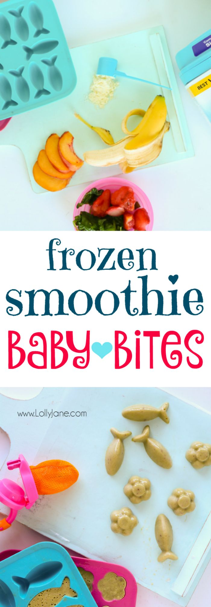Make your own batch of frozen smoothie baby bites. Packed with veggies + fruits plus a few scoops of formula for added nutrition! Just blend & freeze then pop into a fresh food feeder and let baby go to town... also great for sore teething gums!