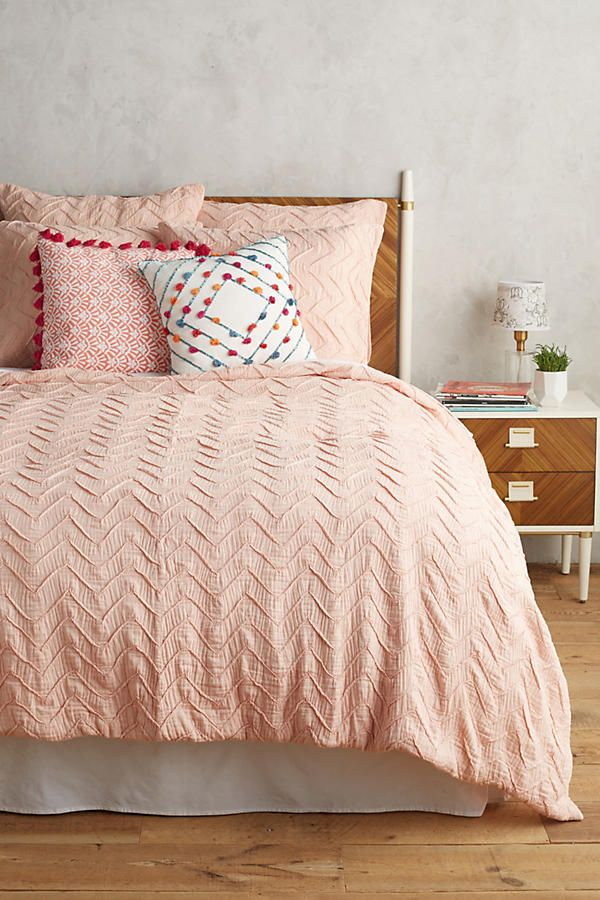 Slide View: 1: Textured Chevron Duvet Cover WHITE