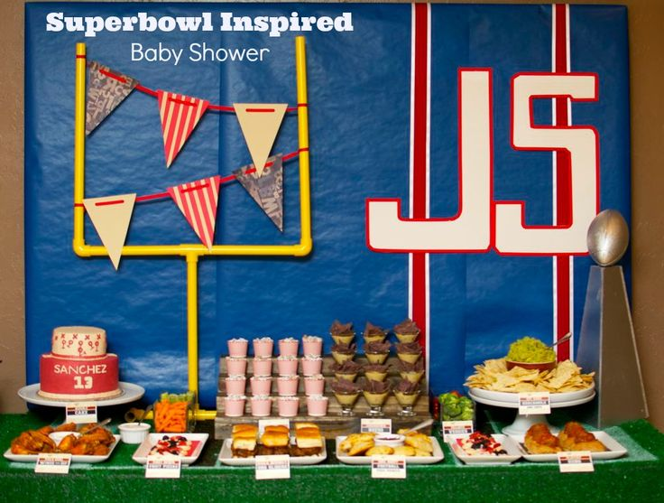 Beautiful Superbowl Inspired Football Baby Shower Party Via