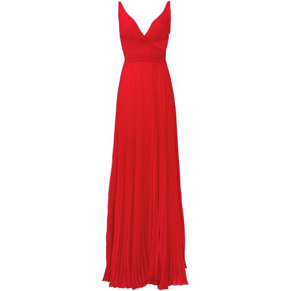 Rental Laundry by Shelli Segal Hudson Gown ($100) ❤ liked on Polyvore featuring dresses, gowns, long dress, red, v neck dress, pleated chiffon dress, pleated chiffon gown, long dresses and red chiffon dress