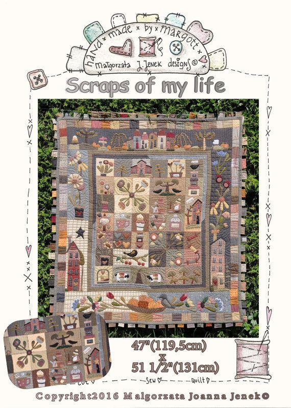 Restjes van mijn leven – PDF patroon, quilt patronen, primitieve quilt door MJJenek, hand opgestikte