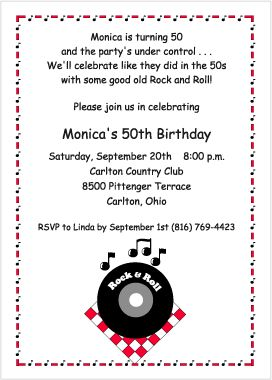 50th birthday & rocks | Rock and Roll Birthday Party Invitations