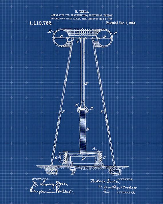 Patent Print Tesla Coil Tesla Wall Art Tesla by VisualDesign
