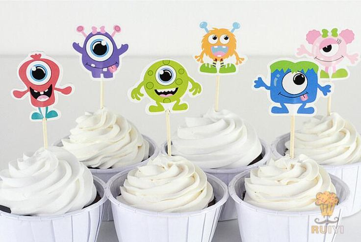24pcs Monsters University Theme Party Supplies Cartoon Cupcake Toppers Pick Kid Birthday Party Decorations