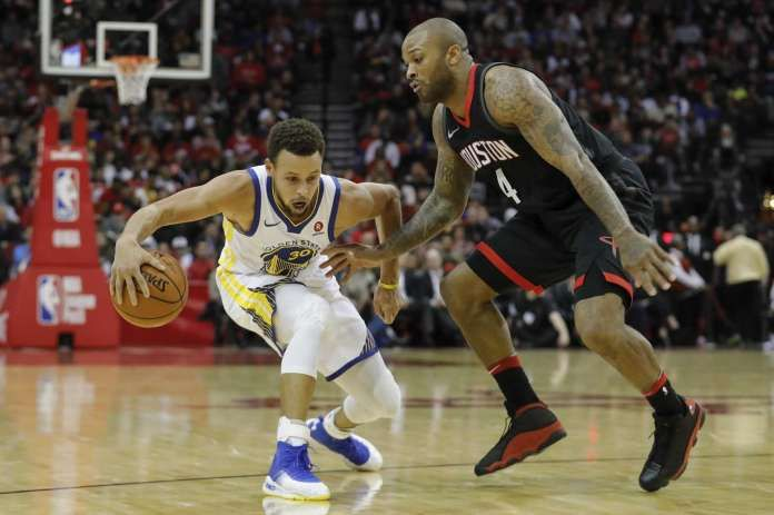 Houston Rockets guard Chris Paul (3) defends against Golden State Warriors guard Stephen Curry (30) during the fourth quarter of an NBA basketball game at Toyota Center on Thursday, Jan. 4, 2018, in Houston. ( ... more
