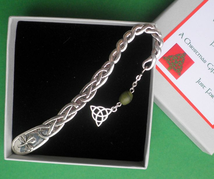 Celtic encircled Triquetra on a Celtic scroll and Shamrock Bookmark, Boxed Irish Gift , Connemara Marble Bead