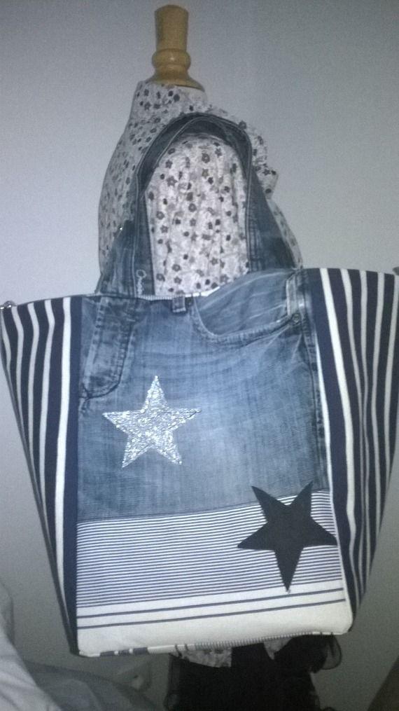 """cabas """"LOLY"""" toile jean's toile matelas et jersey rayures bleu, application étoiles paillettes argentées"""