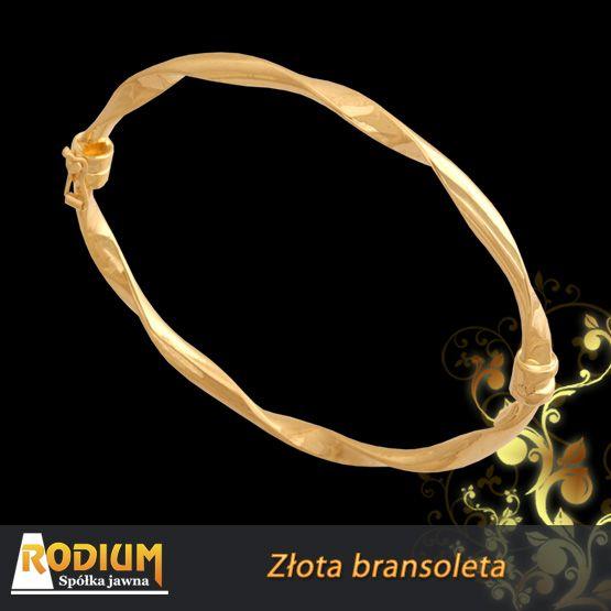 Bransoleta wykonana  ze złotej rurki czyli szarnierki.