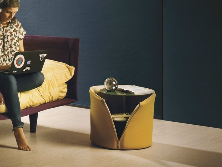 Rounded round bedside table Colletto Collection by Lago | design Nuša Jelenec