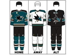 San Jose Sharks old uniform set