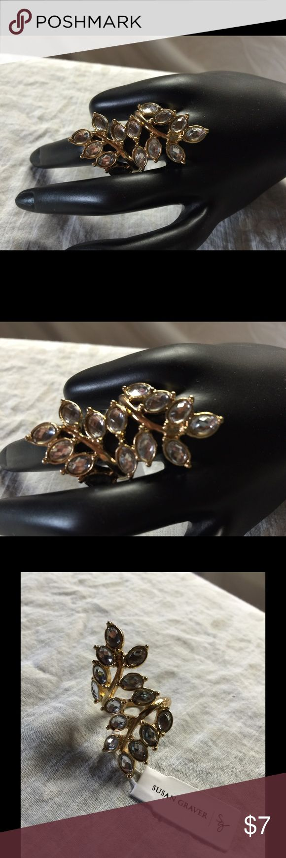 "Susan Graver Elongated Crystal Leaf Ring Gold tone Elongated design; bypass styling in the shape of a leaf; oval-shaped, clear simulated crystals; highly polished shank Sizes  8 Measures approximately 1-3/4""L x 3/4""W Susan Graver Jewelry Rings"