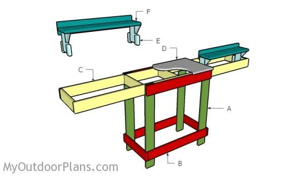 Miter Saw Table Plans   MyOutdoorPlans   Free Woodworking Plans and Projects, DIY Shed, Wooden Playhouse, Pergola, Bbq