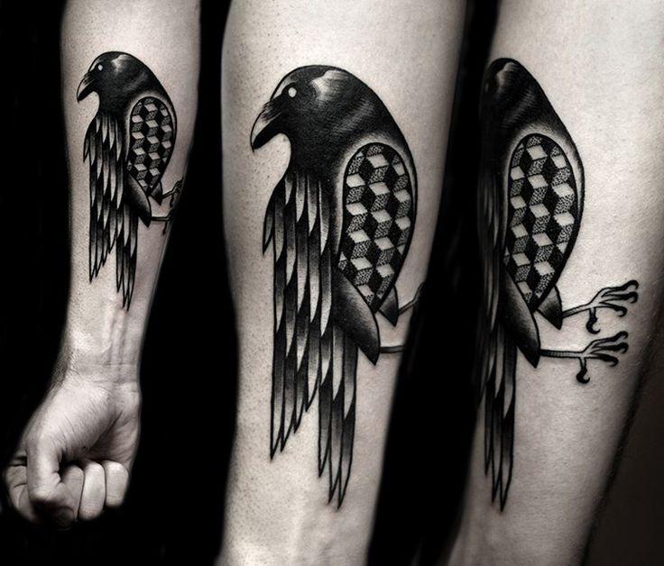 Fine Black Crow Tattoo On Chest | Fresh 2016 Tattoos Ideas