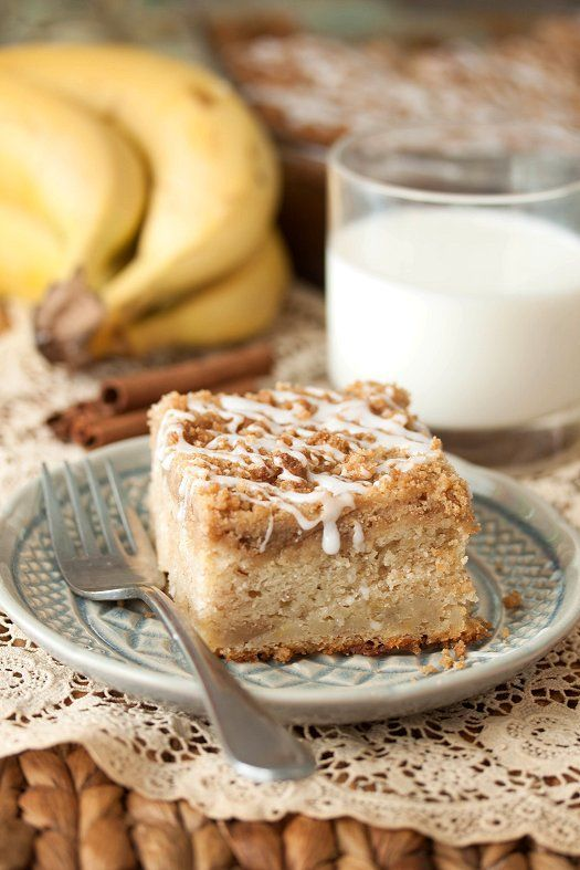 sweet and moist banana crumb coffee cake; the banana adds so much flavor and moisture, then to combine it with the cinnamon streusel on top was just the perfect touch; it also has some of the streusel layered in the middle of the cake too