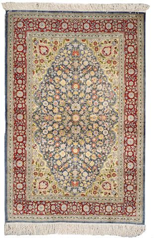 Hereke silk rug Turkey Contemporary size approximately 3ft. 4in. x 5ft. 3in.