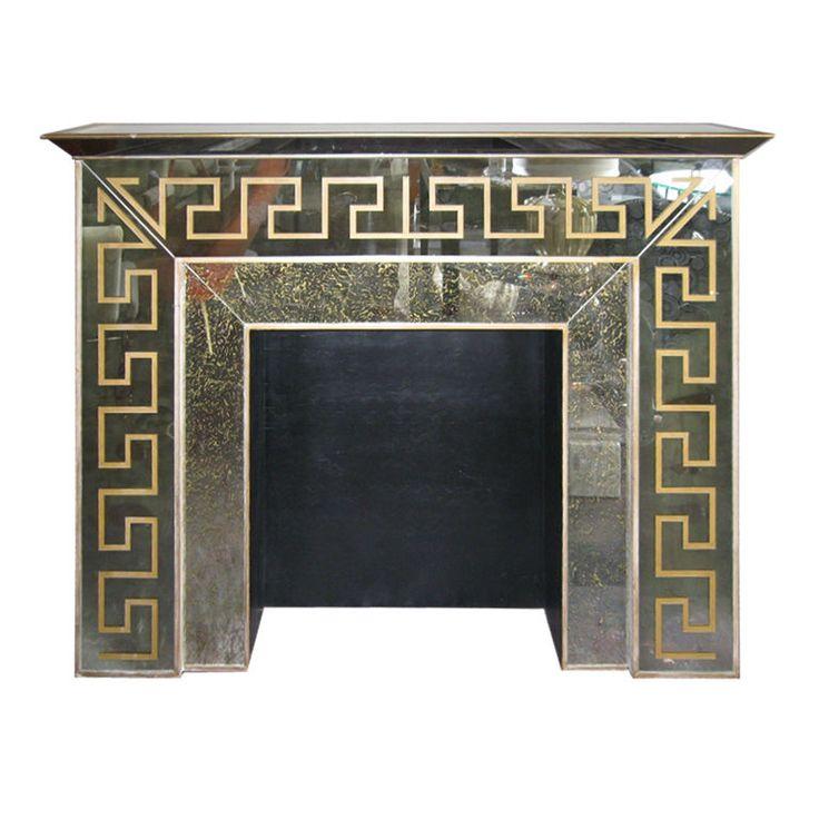 Great Hollywood Regency Mirrored Greek Key Fireplace Mantle