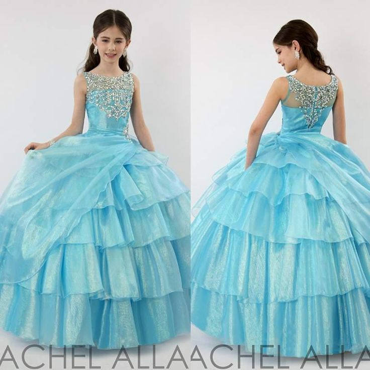 Wholesale Flower Girl's Dresses - Buy 2015 New Arrival Blue Puffy Girl's Pageant Dresses Layers Pleated Crystal Flower Girl's Dress Gowns Tiers Ruffled Dresses for Little Girl, $88.74 | DHgate.com