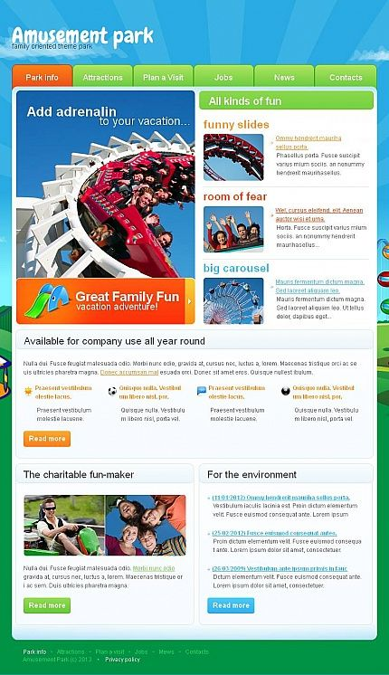 Amusement Park Facebook HTML CMS Templates by Mira
