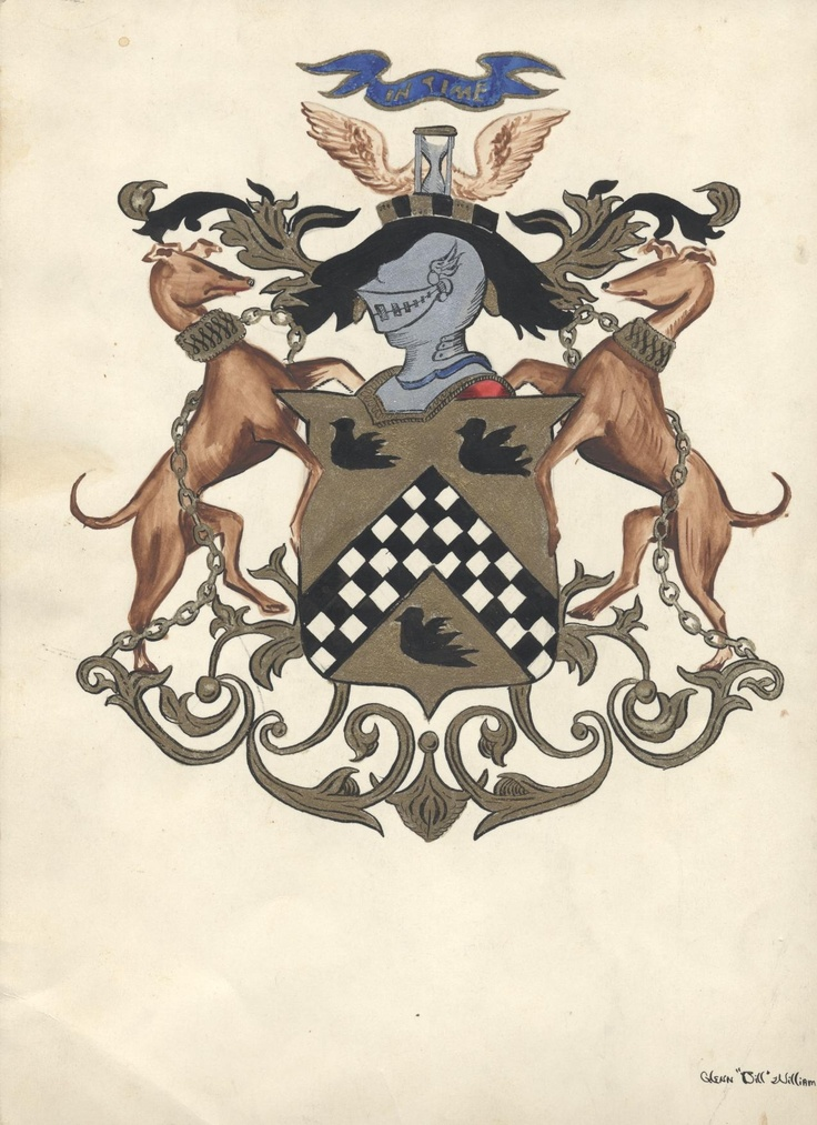 The Houston Family Coat of Arms. A mosaic version of this crest is visible in the main museum's rotunda area.
