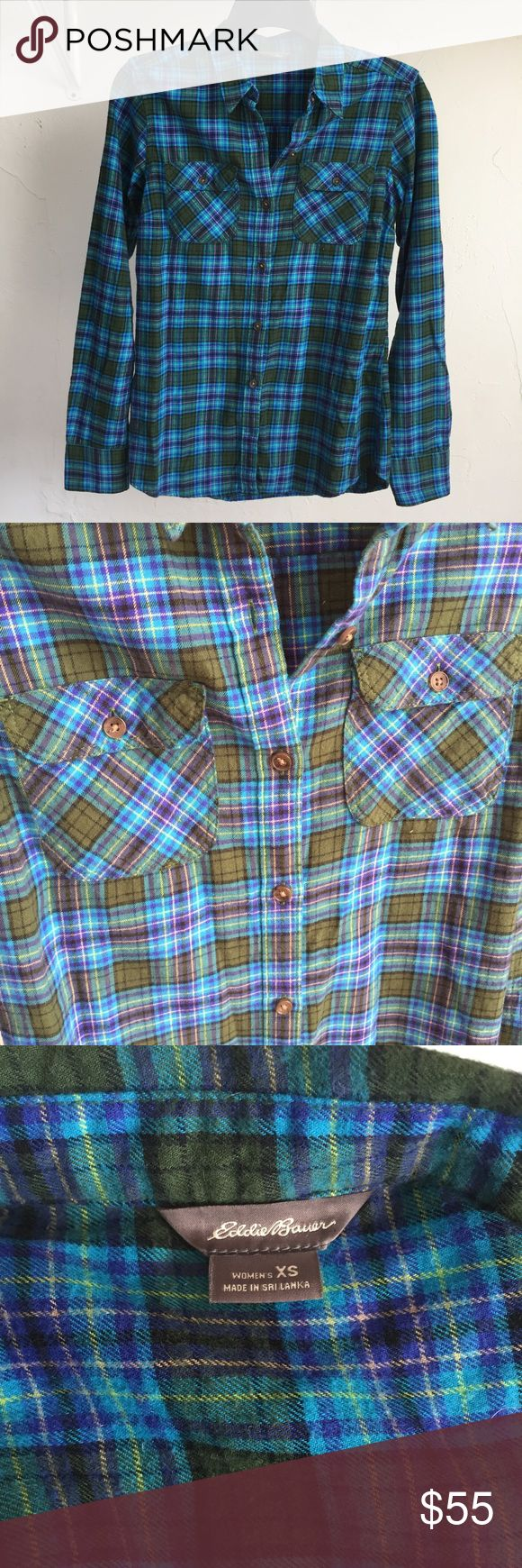 Eddie Bauer blue and green flannel shirt Bright and colorful! Eddie Bauer Tops Tees - Long Sleeve