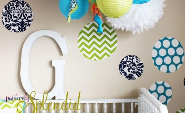 Custom Fabric Wall Decals www.thebump.com #DIY: Polka Dots, Decals Tutorials, Sprays Starch, Splendid Crafts, Positive Splendid, Custom Fabrics, Wall Decals, Kids Rooms, Fabrics Wall