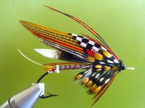 "Shawn Mitchell tied this classic salmon fly called the ""Chav"" - its based on Burberry's tartan plaid."