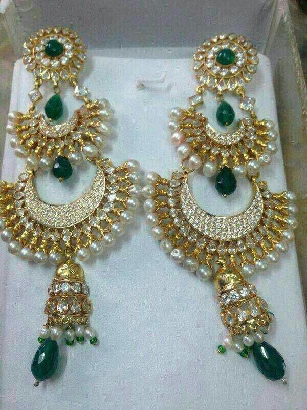 Rajputi gold chand earings