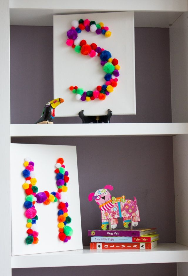DIYs FOR KIDS, art and craft idea for kids to make for their bedrooms, colourful monogram pom pom canvas