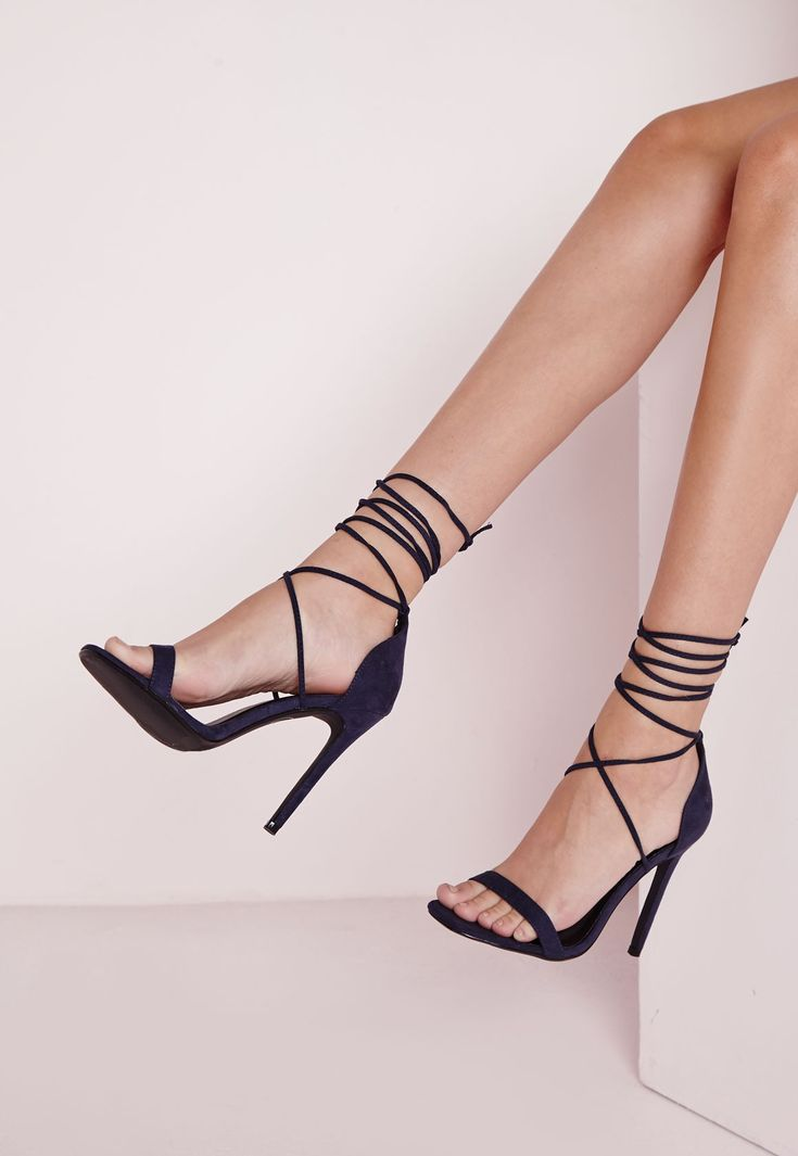 Lace Up Barely There Heeled Sandals Navy - Shoes - High Heels - Missguided