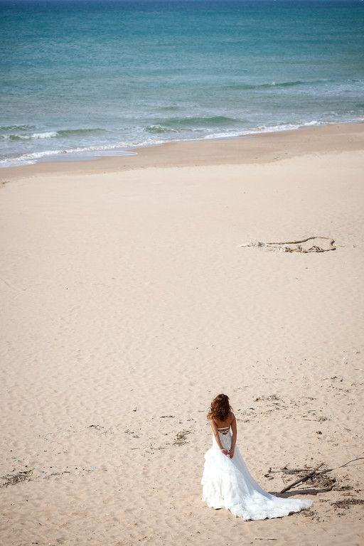 Sposa, abito, spiaggia, mare