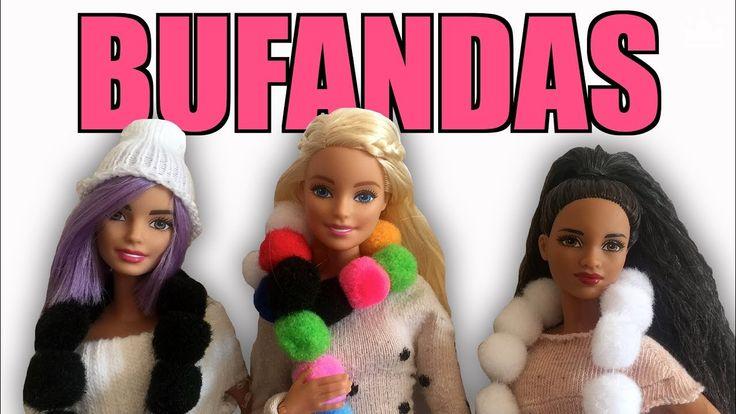 DIY Cómo hacer Bufandas para Barbie con Pompones ¡Muy Fácil! Ropa para B...