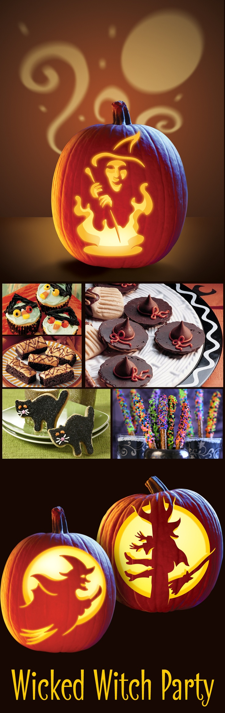 Wicked good fun is sure to be had with a witch themed pumpkin carving party!