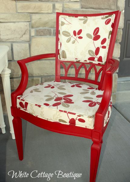 Changing caning to Upholstery - Red and White Dining Set Upholstered Chairs