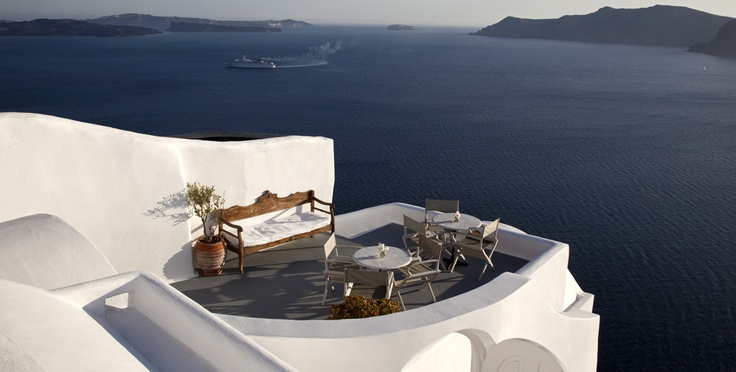 Our reception's terrace with the volcano in the background  IKIES, Oia, Santorini, Greece